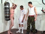 gay porn Master Mike And Master || At the brutaltops gym army brute master mike has an ingenious way for working out his sub and pushing his pain threshold to the limit. Using expert bondage techniques pegs are attached to the sub's sensitive nipples and the end of his foreskin. These are tied together and he is made to exercise under the direction of master mike and master daryl causing him the most acute sexual pain. The tops verbally abuse him, flog him and piss on him while the sub obeys every order until he's completely exhausted.