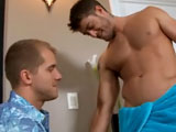 Sprawled out and naked on the couch, Zac Blake kicks back as hairy hunk Alex Eden gives his cock a good workout. Alex knows how to handle a big piece of meat, going all the way down he give good deep-throat as he man-handles Zacs smooth shaved balls.