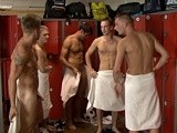 Football team in the showers