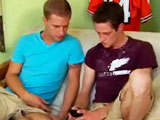 This week we have hung hottie Chad Davis back at CircleJerkBoys.com and we have a special treat for our 21 year old West Florida coast native. We can thank Georgia for Chads treat du jour, Mr. Cole Harvey. Chad and Cole are sitting on the couch as Chad thumbs through his pics on his phone and comes across a pic of his dick. Whats that? gasps Cole. Thats a picture of my dick blushes Chad. Cole doesnt believe him and after Chad reassures him it is; he asks Cole to show him his. Cole undoes his shorts and hauls out his thick cock. . Chad strokes it a bit before going down on it for a true taste of the South. Cole then reaches for Chads cock that is straining to be set free. He immediately gets to work returning the favor as he sucks on Chads thick cock. Chad sits back and suits up as Cole straddles his thick cock. He impales himself on that cock and starts to bounce on that disco stick. Chads smooth balls are slapping up against Coles hungry hole as Chad thrusts u! p into him. They then move over to the futon where Cole gets bent over and fucked doggy style. Chad slams that cock back into Cole's hot hole. Then Chad gets Cole on his back on the ottoman and starts fucking him missionary. This one always does the trick and sure enough Cole shoots his nut as Chad impales him. When Chad does get that familiar tingle he pulls out and shoots his massive load all over Cole; the ottoman; the rug and the camera crew. lol