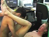 Hot Young Twink Jerks His Cock and Then Bends Over and Gets His Ass Dildo Fucked by His Mate