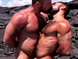Bald and buff hunk Jake Deckhard and famous furball Steve Cruz are lost and delirious in the desert heat when unconsciousness hits them along with a sex-filled mirage by a seaside oasis. Collin O'Neal is there waiting to join their group fuck and makes this threesome so cum-tastic that it could only be the stuff of fantasy. Steve's hole is well-and-truly worked by Collin as Jake looks on, before he decides to take a turn and finishes off by spewing a white, hot load all over his bottoms back.