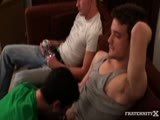We Were Sitting Around Watching Cartoons and Drinking Beers. Dayton and Krys were Getting Serviced on the Couch by This Hungry Cocksucker, Brenden. They started Boning This Guy, but He Couldn't Take My Pal's Niner. They Pinned Him Down and Took Turns Boning His Squirming Ass. They Were Really Rough With This Dude, they Even Put a Blonde Wig on Him and Called Him Britney as They Porked Him. As krys Blew His Load All Over This Dude's Face, Dayton Sat Back on the Couch And squirted Out a Huge Load.