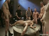 gay porn Spencer Reed And Emanu || Spencer Reed makes Emanuel take it all in this update. Emanuel endures intense humiliation, groping by a horny crowd, the zipper, sucking feet, ass caning, ass fucking, metal bondage, and huge toys up his ass,