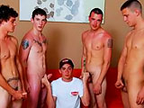 gay porn Bukkake With Boston || Boston takes one for the team, volunteering to be a Bukkake Bitch as Jason, Mick, Jamie and Bobby show him what they are made of!