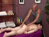 Our In-house Masseuse Chad Brock Begins Rubbing Mick Gibson's Entire Backside; Shoulders, Back and Legs. With a Pass Across His Ass, the Cheeks Are Spread and Chad Can't Resist Some Gentle Fingering Action.