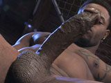 gay porn Santino Vega Solo || Big, black beauty Santino Vega is back to give us another look at that incredibly donkey dick and built, tattooed flesh.