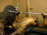 Rudy and Juice compete to see who can bench-press the most (while showing off their hot black muscles at the same time). But Juice cheats by sucking on Rudy's cock while he's midway through his set. It may not be fair but it's frickin' hot! Rudy returns the favor by eating out Juice's hole and then fucking it rough on the bench with his monster cock.