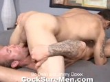 gay porn Bo Dean And Jimmy Coxxx || We're Excited to Welcome Back a Familiar Face and Rocking Hot Bod. Bo Dean Makes a Triumphant Return, Teaming Up With the Always Horny Jimmy Coxxx, for a Sizzling Scene. Both Studs Boast Rock Hard Bodies, With Tats Covering Bulging Biceps and Forearms. Their Sexual Chemistry Means Their Dicks Are Hard From the Get-go. Bo Is the First One Down on His Knees, Swallowing Jimmy's Dick and Licking His Balls. Jimmy Returns the Favor. but He's a Power-bottom Who's Hungry Hole Is Anxious to Slide Down Bo's Thick Pole. Jimmy Rides Bo's Cock Long and Hard. Then Bo Mounts Jimmy From Behind Pounding His Cock Into Jimmy's Ass Over and Over. Jimmy's Expression Is Super Hot as He Cums While Getting Pounded! Bo Soon Follows With His Own Huge Load. Let's Hear It for Return Engagements!