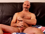 gay porn Sexy Man Over 40 || Bald hairy man Bubba is one sexy hunk. He's ruggedly handsome, wears a hot, salt 'n pepper beard, and sports some interesting tattoos. He works out so his body is strong and curvy in the right spots. Bubba strips and pumps out a thick load all over himself.