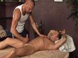 Braxton Bond Lays Back, Knowing He's Not Far From Erupting. Chad Kisses Him, Massaging His Body and Begins the Ending by Taking Hold of His Cock and Rolling With Some Vigorous Stroking Action. Braxton Cannot Hold Back Anymore and Unloads With a Thick Spurting Flow of Cum Across His Abs.