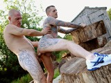 Rugged and Tattooed Rugby Lads Max English and Dan Jensen Have a Hot Outdoor Countryside Fuck, With Hung Uncut Deepthroat Action, Arse Licking & Hard Fucking by a Wood-shed.