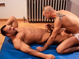 Sexy bear cub Andro de Luca gives Ted Colunga a massage. Both men are wearing nothing but their jockstraps. You'll marvel as Andro swallows Colunga's 9-inch, uncut cock. Then your eyes will bug out of your head as you watch that huge dick disappear up Andro's ass.