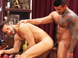 Alexsander Freitas orders Dean Monroe to strip. &quot;Turn around, show me your ass,&quot; Freitas grunts. Alex bends Monroe over the table and fucks him with his stiff uncut cock. When it's all over, Dean is sitting back in a leather chair and his hairy chest is covered in spunk.