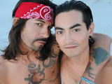Thrasher and Saint Dillon are two tatted Latino skaters horny for dick. Thrasher has long gorgeous hair and Saint Dillon has a big uncut cock to die for. They make out, get hard, and suck each other off.