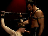 "Noah Brooks is a new sub on Bound Gods. He's tied up in the pipe room and ready to worship Spencer Reed. Noah begs for his master's cock but must prove he is worthy. Spencer works over Noah's nipples with his gloved hands and then suspends him in metal bondage. Noah endures the ball crusher with clothespins all over his body. After a good flogging, he gets a hard fuck in suspension and a ""good boy"" from his master."