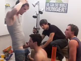 After taking some verbal abuse from the boys, Jake is forced onto his knees. With a cock in each hole this dick hungry slut is tag teamed by myself (I'm Angelo) and Anthony. This is pretty much the norm in our frat house. We smoke a bowl, talk some shit and then some frathouse bitch ends up getting plowed in both holes. There is no bigger frat bitch than Jake. Even though he won't admit it, he definitely loves making these vids.