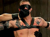 Bad ass Cliff Jensen is bound in leather straps while Matthew Singer services his fat cock. Getting flogged by Van, Cliff smirks and throws some attitude. As the beating becomes harder and harder, the bound stud gets an attitude adjustment and yells as he reaches his limits. Cliff gets to work on Matthew as a reward. Matthew endures upside down suspension, the crop, the zapper, the flogger, and a hard suspension fuck.
