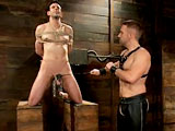 Master Dirk Caber is the new dom in the house. Jason Miller presents himself for Dirk's amusement. Dirk ties up Jason on the CBT box and hangs weights on the boy's huge balls. Showing the new dom his toughness, Jason endures clothes pins smacking off his body and the zipper across his chest. Jason toughs it out when Dirk hangs the metal bowling ball to his cock and balls. Jason suffers tit torment on the cock-sucking chair. He finally gets a reward by servicing the new master's cock. Dirk suspends the boy, gives him a hard flogging and even a harder fucking.