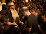 Dirk Caber gets used and abused by 200 horny men at Folsom weekend party.