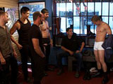 gay porn Josh West And Micah Andrews || Micah Andrews is shopping for boots when horny men grab a hold of him. Josh West strips him naked and ties him up in front of the store window. They smack him about and make him suck cocks and feet. Micah endures more torments and made to lick cum off boots. The crowd beat his ass and drag him into the backroom. They all take turns fucking him and shoot their loads in his mouth. Josh tosses the filthy whore into the busy street.