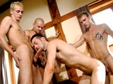 the 4 Hottest Lads and Biggest Cocks, Extreme Arse Stretching, With 5 Incredible Positions, Including Spit-roasting, Chain Fucking &amp; Double Penetration, Ending In an Awesome Cum Facial as All the Lads Spunk Their Loads Over Lukes Face and Into His Mouth. Amazing!