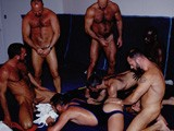 It's an All Out Bearback Orgy Fuck Fest!! Bottom Pigs Chad Adams and Jeff Allan Get Their Bare Holes Lubed and Ready for Some Cock. Benjamin Rams Adams, Who Grunts Like a Wild Pig. These Daddies Continue Fucking and Spreading Their Seed, Until the Tops Bust Their Nuts Into the Bottoms' Open Mouths.