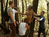 gay porn Josh West And Dj || Josh West blindfolds and ties DJ to a tree in the woods. To make things more interesting, he puts an electric buttplug in DJ's ass and plays with him using a remote control. Hikers find DJ naked and tied up, and they use the boy. They drag DJ into camp and turn him into a service slave. He is made to crawl around the campfire serving drinks and sucking cocks. The crowd tosses the camp whore into the hot tub, gang fuck him and spray his face and mouth with their hot cum. Satisfied, they make him crawl back into the woods where he belongs.