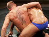 Muscular hunks Gavin Waters and Roman Wright fight for the right to fuck the other.