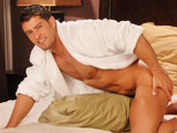 'A hard working man deserves a little time for himself. Cody Cummings just happens to be such a man, and he's settling down by relaxing in a soft, terry cloth robe. Join him as he fires up a hot chubby to stroke while admiring himself in the mirror. It's been a long day under the sun and Cody very much enjoyed the cool shower he just had. Now he's grinding his dick on a fluffy bed lined with fine linens. Watch him jerk his thick cock until it bursts in a warm, pulsating climax. A hard day's work never goes unrewarded.