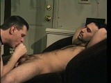 Fuzzy Little &quot;shit Heel&quot; Paulie Loves Having His Cock Sucked by the Dawg so He Stops by for Three Down-deep Sessions. He Squirms and Makes Some Faces as He Works on Getting His Cum Out and After a Cockfight and Some Not-so-gentle Coaxing Paulie Lets Loose Some Creamy Nuts. Super Hot!<br />