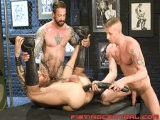 Daxx Reed Stands In the Sex Club Waiting for a Fist Bud. Heavily Inked Ian Mcqueen Comes Around the Corner With a Bubble-butt Begging for Attention. Reed Throws the Eager Mcqueen on a Nearby Bench and Begins Licking His Ass and Engorged Cock and Balls. Horse-hung Brit Mike Power Joins Them and Strips Reed, Lubes His Ass With Spit, and Fucks Him Deep. Power and Mcqueen Pump Reed From Both Ends Then Pull Out the Anaconda Dildo and Shove It In His Puckered Hole. Finally Reed Begs for a Fist Up His Ass and Mcqueen Takes Over. All the Tag-team Fist-fucking Gets Makes Power and Mcqueen so Hot They Jack Off and Shoot Their Loads All Over the Dazed Reed.<br />