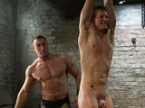 gay porn Spencer Reed And Cameron Adams || Cameron Adams is brand new to BDSM but he's a tough boy. He begs for Spencer Reed as his first dom. Spencer says sure to the newbie and he wants to put the boy through his limits. Spencer strings up Cameron on his wrists and flogs his naked body. Trying extremely hard to satisfy his dom, Cameron begs for more. Spencer fucks him with his ankles suspended in mid air. He puts Cameron in a wooden stockade and slams the bamboo cane to the boy's ass. He then fucks the boy some more and cums all over him.