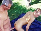 gay porn Silver Daddy Fucks A Raw Hole || Set in the beautiful outdoors, sexy silver daddy Ray Butler finds himself a hot younger man to fulfill his hot fantasies and service his throbbing big cock and juicy hole. He's a good little man servant, licking and sucking daddy's hot cock and giving him an amazing blow job. Seeing that big cock makes his hole quiver for the bare dick, and soon he's doggy style awaiting his silver daddy's manpole. The fucking is raw, intense, hot and passionate; this is a one a kind bareback fuck video that you HAVE to own!