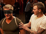 Gavin Waters is a virgin to BDSM and has a magnificent body. He's blindfolded and marched into a seedy bar where the patrons take turns groping and humiliating him. Gavin has never been down this road before but he takes it like a trooper. You can tell he's really getting off on it. Hard flogging, huge dildos and some electro-play keep him on his toes and push him to the brink. It all ends with a hard bondage fuck and a huge cum fest that leaves Gavin spent and quivering.