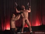 gay porn Whipped Daddies In Pain || Naked bald daddy Forrest Gunner is brought in and strapped standing up to a big X by chaps wearing bear Buddy LaRue. Buddy brings out a leather whip and proceeds to whip F's back and ass, switching to a bigger whip which has F shouting out more 'Yes, sir,' then onto a paddle. He then is turned around on the X and we can see his hard dick so I guess he likes the whipping! Clothespins are then attached all over his bodyouch!including to his genitals; after a bit more flogging they are taken off.