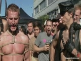 gay porn Drew Cutler And Camero || Naked and in tight bondage, sexy stud Cameron Adams is dragged through the cheering crowd of thousands like a dog and humiliated at Folsom Street Fair. Many people take photos and grope the tied up boy. After enduring some hard flogging, nipple and ball punishment and a crawl through the toilets, he's dragged to a back yard party. The horned up guests shove their cocks down his throat, gang fuck his tight little hole, and cover him in cum like the street trash he is. It's the best Folsom Street Fair ever!