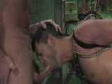 Dom Spencer Reed goes into the dungeon and finds slave dominic tied up. Spencer in full the leather works over naked dominic with a heavy flogger. Satisfied, Spencer gets all slicked up and puts dominic inside a sarcophagus. He tests dominic's strength with electricity on his cock and balls and inside his asshole. Spencer is impressed with dominic limits and rewards him with a hard suspension fuck Bound Gods style in the end.