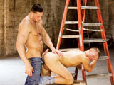 gay porn Snap Shot || Steven Daigle wanders inside the warehouse looking for trouble and finds big-muscled Erik Rhodes. The two men face off and quickly let their hands and tongues do all the talking. Steven is all over Erik's cock, savoring the foreskin's fleshy excess. Then it's the big man's turn to service his wanton comrade. Steven next zeroes in on Erik's bubblebutt, diving tongue-first into the clenched aperture. Erik responds in kind, priming his opponent's hole before he drives his dick in. Steven grows excited with each fierce thrust, even during his bouncy ride on Erik's hot rod. They finish off with Steven on his knees jerking himself off while he fellates Erik's big sausage. The newcomer buck cums first and creams all over. He quietly waits as Erik showers him with his spooge and then he takes off.Wanting more, Erik kinks it up. He grabs a traffic cone, squats over it, opens up and slides down. His sphincter stretches wide as it eats up the pillon, exciting him to a second gooey ejaculation.