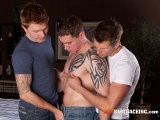 Revved Up Hotties Zack, Jason and Kirby Are Ready to Fuck Every Which Way. They Start Making Out and Gag on Each Other's Meat In No Time. Zack Begins Gorging on Jason's Ass, Preparing It for What's to Come, While Jason Deep-throats Kirby, Continuing to Gag and Moan Along the Way as Zack Crams His Dick Deep Inside Jason's Tight Hole With No Warning. Zack Keeps Stabbing Away At Jason's Hole Until Kirby Feels It's His Turn to Feed Jason's Ass, Which He Does Relentlessly, While Zack and Jason Take Turns Blowing One Another. Zack and Kirby Then Lay on Their Back, Ass-to-ass as Jason Fearlessly Sits on Both Cocks Now Pressed Together, Screaming as They Double-fuck His Ass Bareback and Brutally. <br />