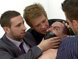 gay porn Office Bullies Fuck Co || Imagine a Group of Sexy Dominant Business Men In Suits Grabbing You Right In Your Office and Fucking You Over. Masters Dean, Derek and Steve Bully the Office Boy Angrily Take Control of Him Stripping Him Down and Making Him Worship Their Shoes. He's Violently Fingered and His Mouth Is Taped Up so He Can't Scream Out. His Head Is Then Shoved Into His Big Manly Co-workers Ass so He Has to Breathe In the Scent of His Hot Hole. His Breath Is Restricted so Much He Nearly Passes Out With His Face Crammed Into the Dominant Master's Backside.