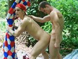 Porn star Pierre Fitch and hot young jock Tyler decide to camp outdoors one night at our recent shoot in Atlanta. This week's episode captures our two horny hunks as they wake up outdoors, ready to take care of their morning wood. Pierre kisses Tyler and they fondle each other's bubble butts until Pierre's hungry throat needs some cock. He blows Tyler, who reciprocates on Pierre's fat cock. As the birds chirp in the woods, our guys take turns licking each other's tight holes with Tyler paying extra attention to Pierre's ass with his fingers. Next thing you know, Tyler has Pierre on all fours as he glides his man stick deep inside that eager hole. Pierre begs for more cock and at one point he tells Tyler to 'fuck the Canadian out of me!', and when Tyler finishes his drilling, you start to believe that he might have done just that!
