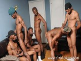 We've Got a Collection of Fresh Faces Among This New Thug Gangbang. Leading These Horny New Brothas Is Veteran Gangbanger Intrigue, Who'll Give the Boys a Hand Easing Into This Orgy of Black Flesh.
