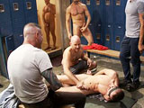 Bound and gagged, ex-military Matthew Singer is taken into a crowded locker room. He is made to strip naked while being bound and the public gathers around with amusement. Naked men fresh out of the showers stroke their hard cocks as Matthew crawls around begging to give head. They smack him around and shove their cocks down his throat. One stud fucks the hell out of Matthew while the others pour beer all over him. They drag him to the hot tub and take turns dunking him and shove their cocks in his mouth and ass. Used and humiliated, the ex-military receives loads and loads of cum on his face.