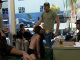 Dylan Deap is taken to the barbershop for a haircut. He gets horny and sucks all the customers. The barber runs the clipper down the middle of his head. Dylan's dom stops the haircut and walks him like a dog down the street to humiliate the slut in public. They go back to the busy shop and the dom shaves Dylan completely bald. Everyone in the place takes turn fucking the bald boy and blows loads of cum down the slut's throat.