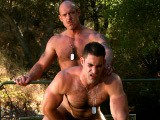 Hairy Muscle Stud Roman Gets Things Started by Goin Down on Jake on the Jeep In This Video. While He's Sucking, Jake Bends Him Over to See His Asshole. Roman Cums With Jake's Dick In His Mouth and Jake Shoots a Load All Over Roman's Chest. but These Two Are Not Done Yet! Roman Bends Over and Takes Jake's Dick Up His Hairy Hole. the Jeep Provides Many Great Places to Fuck and Roman and Jake Find Each and Every One of Them.<br />