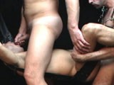 gay porn Backroom Bareback || 3 Hot Hung Daddy Barebackers Breeding In the Sling Today At Sebastian's Studios.