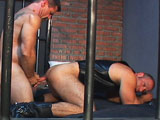 gay porn Leather Lock Up || The action starts with Daddy D greeting a new guest at the fuck club. Ben Archer gets the key to cell #6 where hairy and buffed muscle stud Christian Luke plays with his uncut meat while waiting for a cell mate. Ben approaches the cell and the action ensues - there's some heavy cock sucking and then dildo action as Ben opens up Christian's hole for some of Ben's tool.... there's fucking in every position until the man cream flows.... Christian rubs his ooze into his sexy, hairy chest.