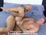 gay porn Bronson And Trent || Burly Bronson Gates Catches Trent Atkins Lazing About on the Bed and Reminds Him That He Has a Game to Get To. Trent Says He's Tired and Doesn't Want to Go. Being the Coach, Bronson Lays Down an Ultimatum: &quot;you Either Hit the Field, or You Hit This,&quot; Gesturing Towards His Cock. We'll Give You One Guess as to Which Option Trent Decided to Go With ;)<br />bronson Whips Out His Big Dick, the Site of Which Immediately Makes Trent's Eyes Open Wide. Trent Eagerly Swallows Bronson's Cock With New Found Vigor, Making the Big Bear Moan. the Coach Takes His Turn Sucking Trent's Cock. After Rimming His Boy He Spreads Trent's Ass Apart and Shoves His Thick Meat Deep Inside While Taking a Lick At Trent's Soft Foot. the Game Is the Last Thing on Trent's Mind as Bronson Rams His Cock In and Out of Trent's Hole. It Feels so Great That Trent Cums While Still Getting Fucked by Bronson. Seeing Trent's Sticky Mess Immediately Sends Bronson Over the Edge and He Sprays Trent With a Load of His Own.