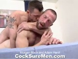 gay porn Morgan And Adam || the Ripped, Bearded Studs Start Off Kissing and Admiring Each Other's Amazing Bodies. Adam Even Does a Little Armpit Licking Which Really Gets Morgan Turned On. After Taking Turns Sucking Each Others' Thick Tools, Morgan Is the First to Be Bent Over and Fucked. Adam Gives It to Morgan Doggie Style Which Leaves His Tight Asshole Jealous. Morgan Lays Back and Adam Jumps on Top to Go for a Ride. Judging by the Looks on Adam's Face, Morgan's Curved Meat Is Hitting Adam In All the Right Places. Morgan Continues to Fuck Adam Hard Until He Lets Loose a Thick White Stream of Cum All Over Adam's Rock-hard Body. Adam Follows Suit, Grunting Out a Load Onto His Abs.